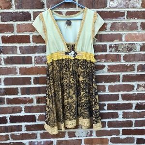 Free People Velvet Floral Dress Size Small Yellow